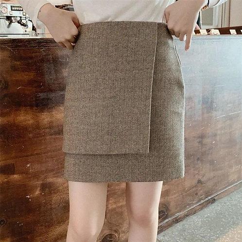 韓國假兩件半截裙-D