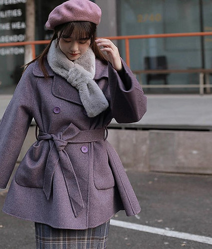 紫色寬鬆毛呢外套-A