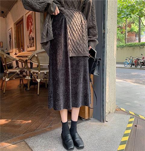 橫條橡筋腰半身裙-A