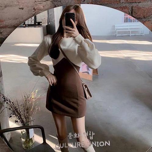 韓國復古拼接連身裙-B