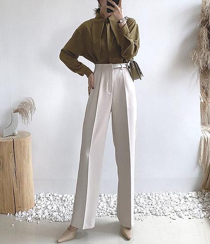 高腰直筒西裝褲-A