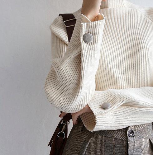 加厚條紋半高領針織衫-D