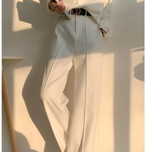 高腰垂直直筒西裝褲-D(正常版)