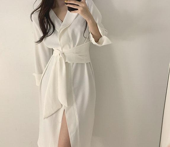 簡約單排釦收腰襯衫裙-A