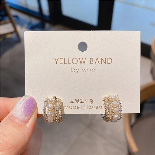 925銀針C形珍珠耳環-A