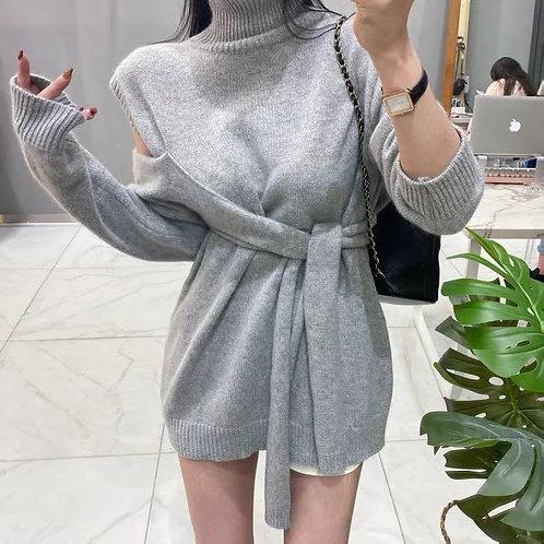 韓國不規則露肩連身裙-B