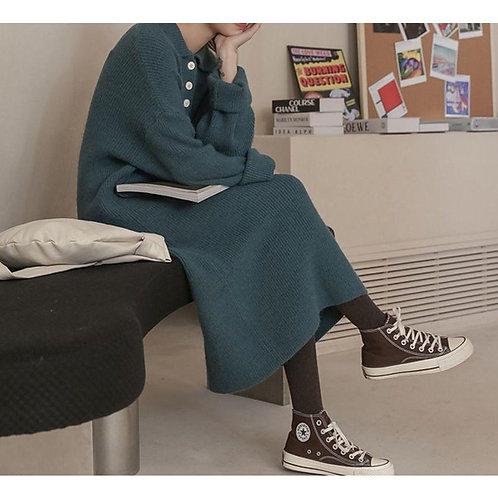 韓國加厚寬鬆針織連身裙-A