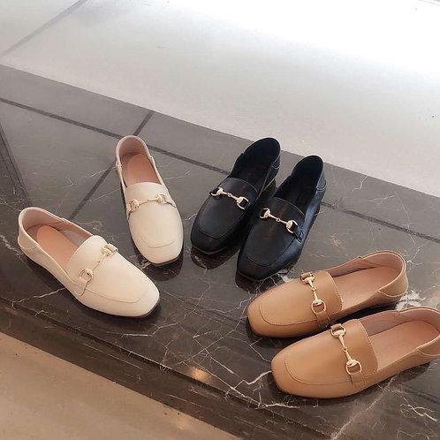 真皮平底樂福鞋-A