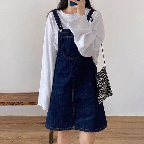 韓國藍色吊帶裙