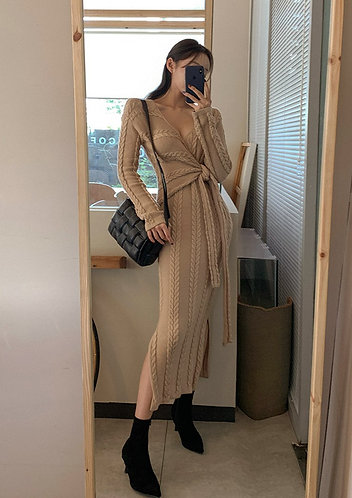 V領收腰麻花連身裙-A