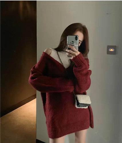 韓國小露肩連身裙-A