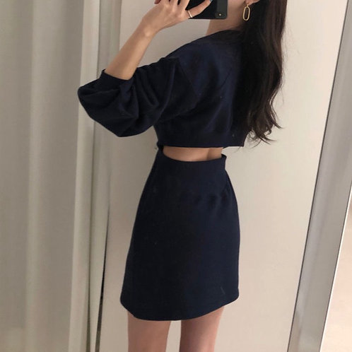 露腰衛衣連身裙-D