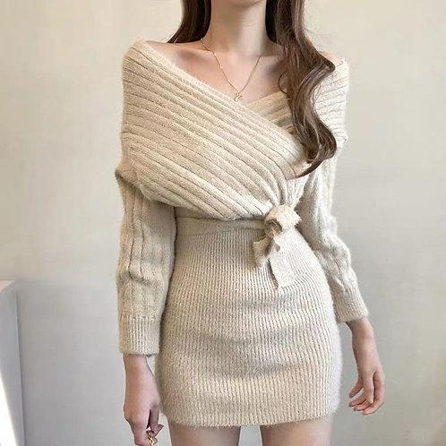 韓國交叉針織連身裙-B