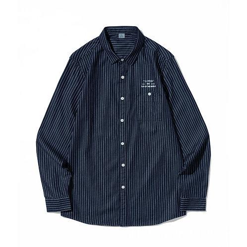 韓國修身條紋襯衫-A