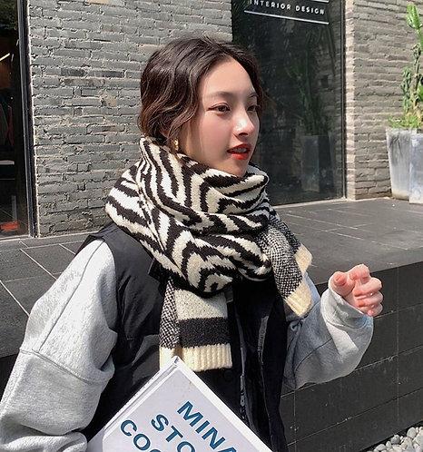 韓國加厚斑馬紋頸巾-D