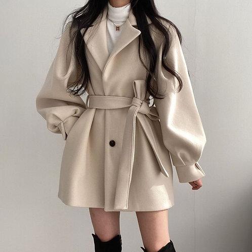 加厚寬鬆中長大衣-A