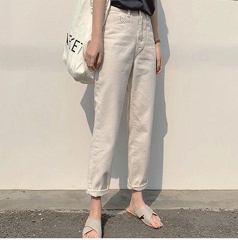 百搭寬鬆白色牛仔褲(加絨)-D