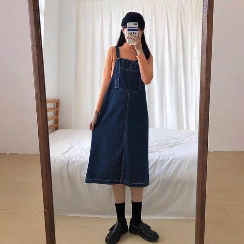 藍色長款背帶裙