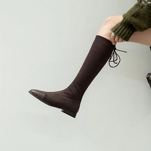 真皮拼接絨面boot-A