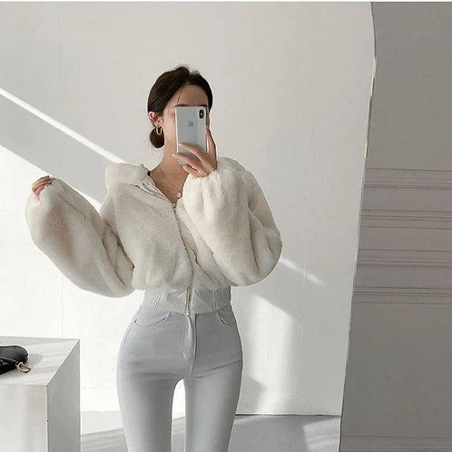 韓國仿水貂毛短款外套-D