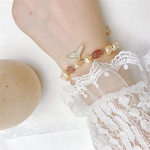 珍珠鍍金魚尾手工手鏈-A