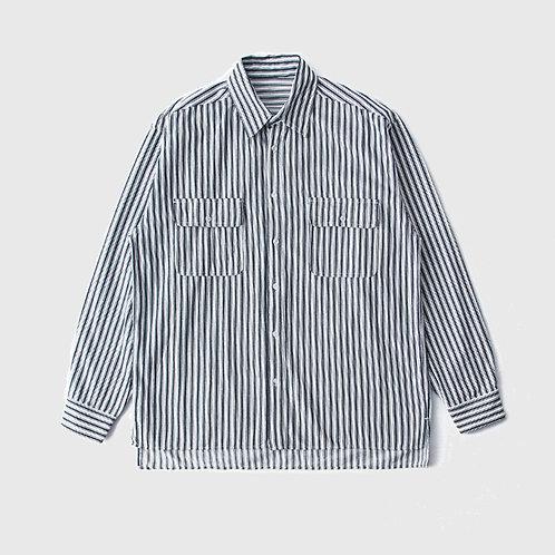 日系復古粗條紋襯衫-A