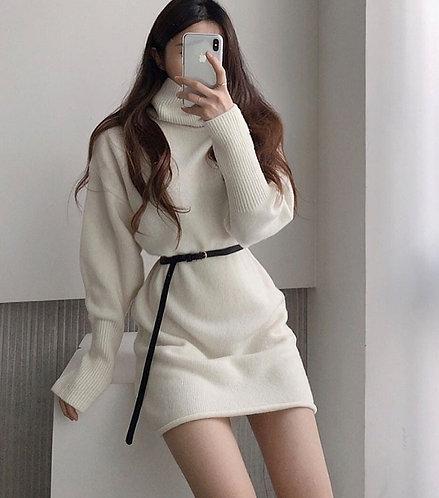 高領針織包臀連身裙-A