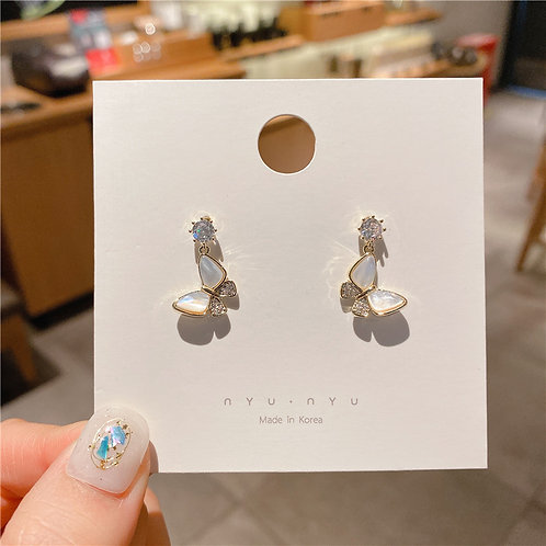925銀針天然貝殼蝴蝶耳環-A