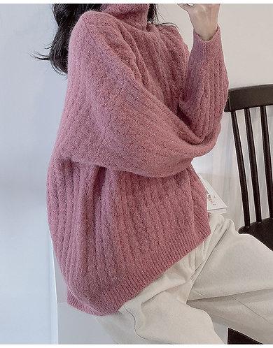 綿羊毛混紡加厚型半高領提花毛衣-A