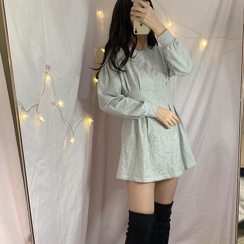 韓國簡約收腰連身裙-D
