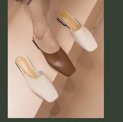 簡約復古包頭平底鞋-A