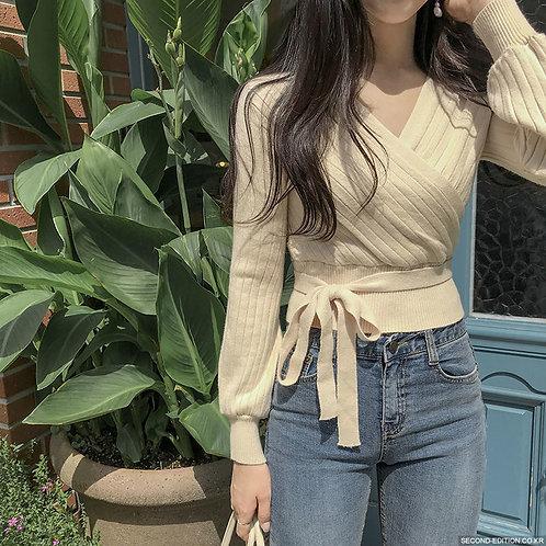 韓國綁帶收腰針織衫-D