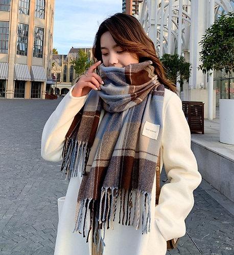 韓國仿羊絨格仔頸巾-D