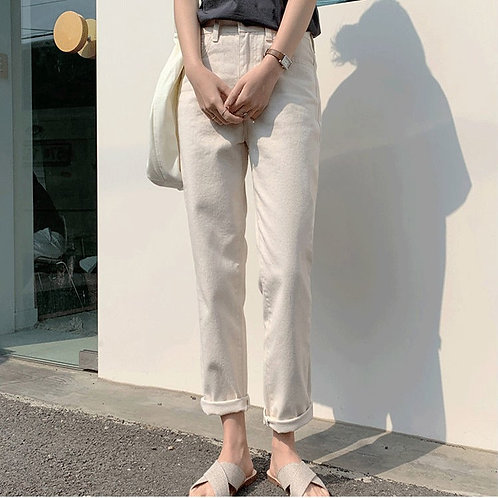 百搭寬鬆白色牛仔褲-(普通版)D