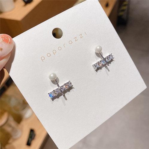 925銀針鋯石耳環-A