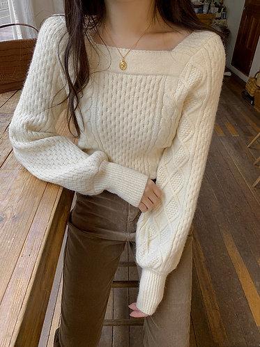 方領麻花針織衫-A
