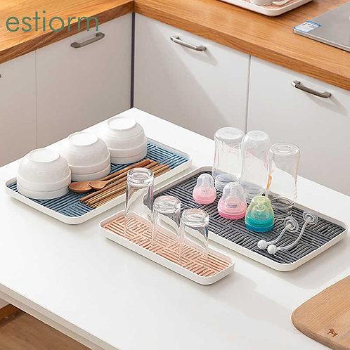 Kitchen Sink Organizer, Soap & Bottle Cup Tableware Drain Tray - Dishwashing