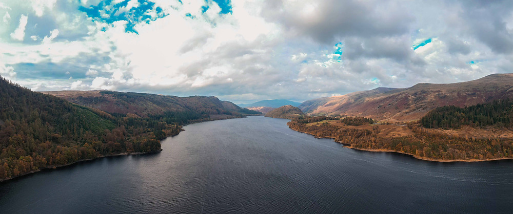 Aerial shot looking north up the lake