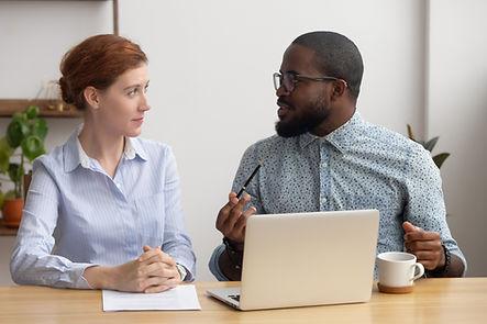 Clinician interviewing patient