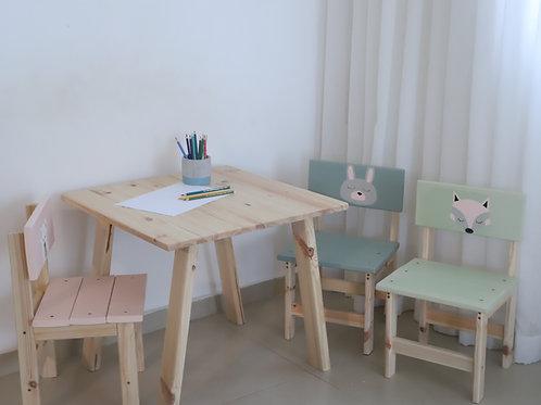 שולחן וכסאות מאויירים לילדים