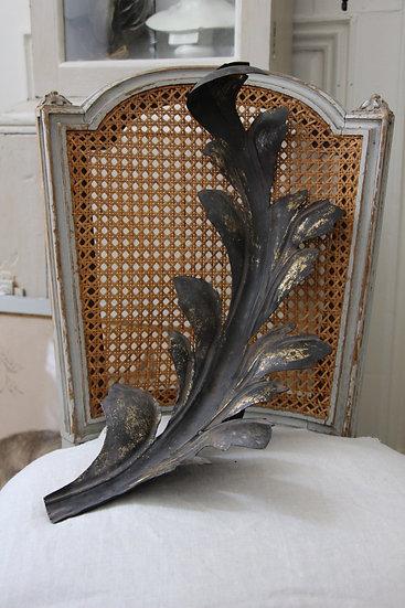 Grande feuille en fer anciennement doré, posée sur une chaise cannée de style Louis XVI patinée