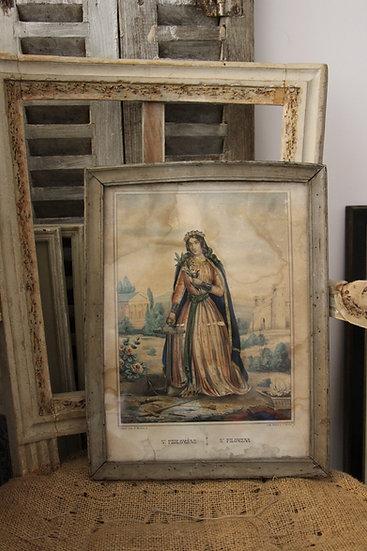 Gravure ancienne Sainte Philomène, parfait pour un cadeau de naissance