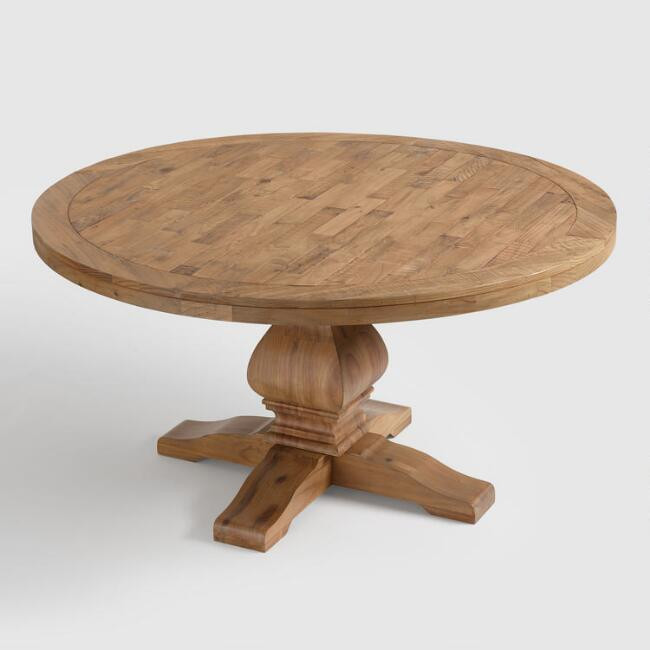 World Market | Round Gray Pine Wood Lisette Dining Table