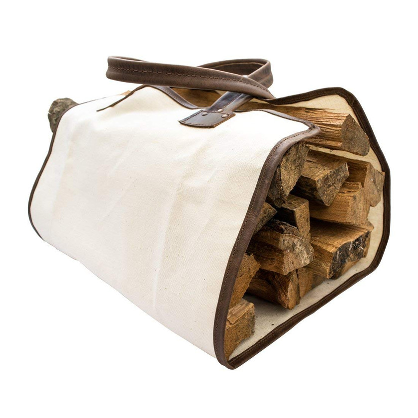Amazon | Durable Canvas Firewood Bag With Leather Liner Handmade by Hide & Drink