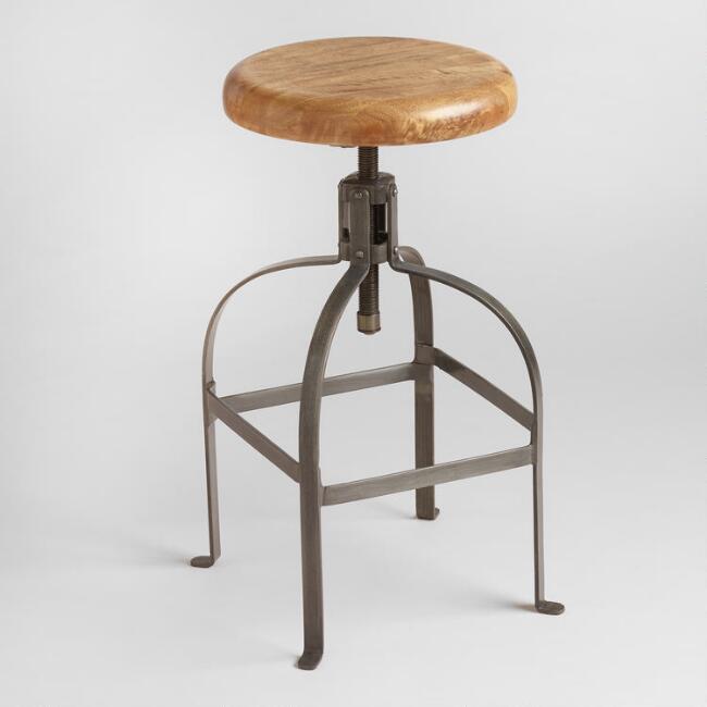 World Market | Adjustable Round Wood And Metal Stool