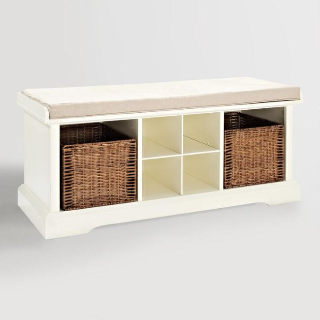 World Market | White Wood Emlyn Entryway Storage Bench