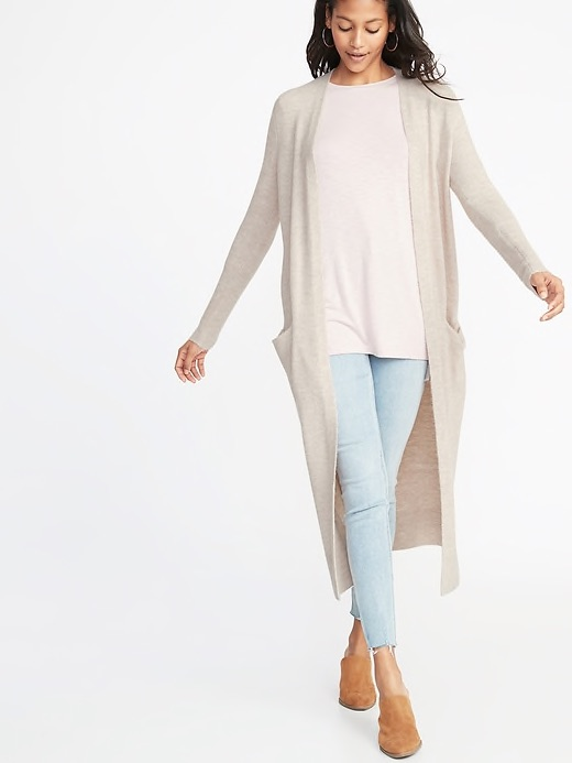 Soft-Brushed Super-Long Open-Front Duster for Women