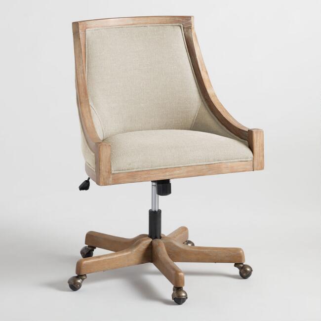 World Market | Natural Linen Henry Upholstered Office Chair