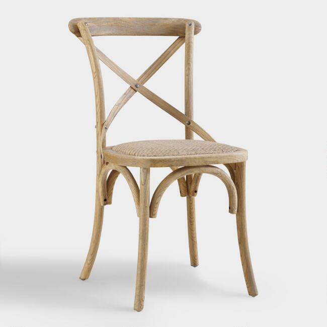 World Market | Gray Wood And Rattan Syena Side Chairs Set Of 2