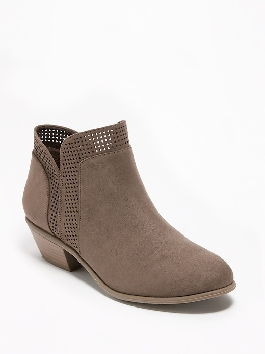 Perforated Faux-Suede Ankle Boots for Women